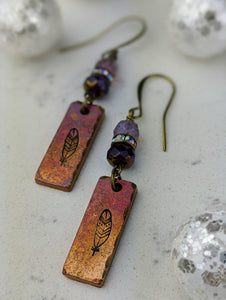 Stamped Copper Bar Feather Earrings - Minxes' Trinkets