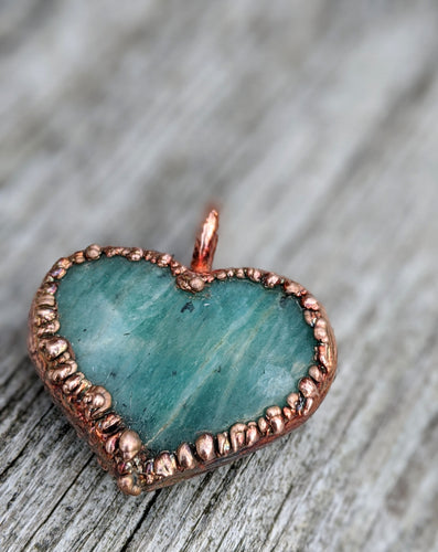 Electroformed Amazonite Heart Necklace - Minxes' Trinkets