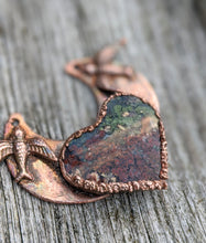 Load image into Gallery viewer, Electroformed Moss Agate Heart Necklace - Love Birds - Minxes' Trinkets