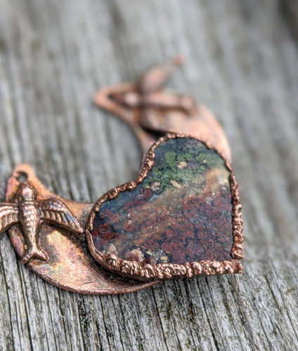 Electroformed Moss Agate Heart Necklace - Love Birds - Minxes' Trinkets