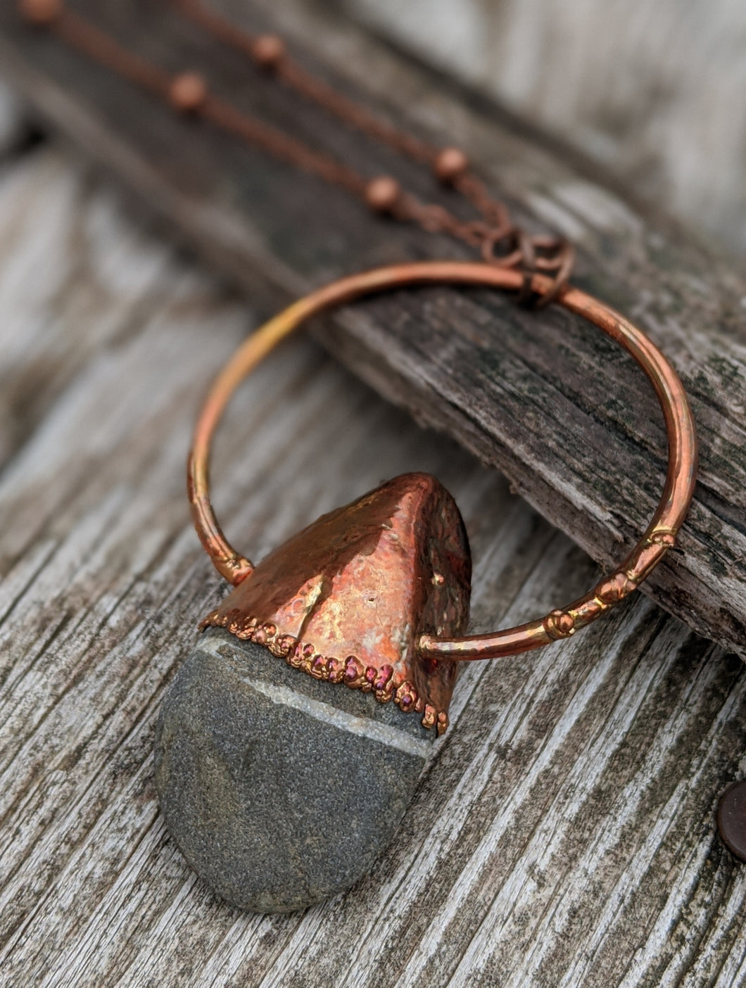 Copper Electroformed Welsh Beach Pebble Worry Stone Necklace III - Minxes' Trinkets