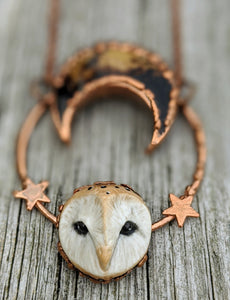 Electroformed Barn Owl Necklace with Fossilized Palm Root Moon - II - Minxes' Trinkets