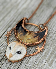 Load image into Gallery viewer, Electroformed Barn Owl Necklace with Fossilized Palm Root Moon - III - Minxes' Trinkets