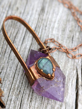 Load image into Gallery viewer, Amethyst and Labradorite - Copper Electroformed Necklace - Minxes' Trinkets