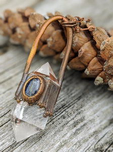 Quartz and Blue Kyanite - Copper Electroformed Necklace - Minxes' Trinkets