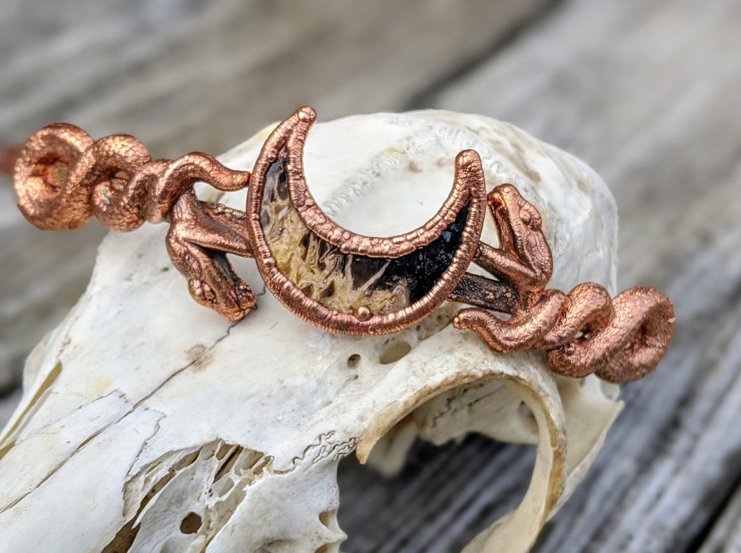 Copper Electroformed Headpiece - Snakes with Fossilized Palmroot Moon - Minxes' Trinkets