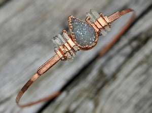 Copper Electroformed Headpiece - Druzy and Quartz Points - Minxes' Trinkets