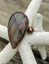 Load image into Gallery viewer, Size 7 Purple Labradorite Teardrop Electroformed Ring - Minxes' Trinkets