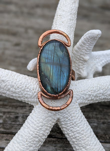 Size 6 Labradorite and Moons Copper Electroformed Ring - Minxes' Trinkets