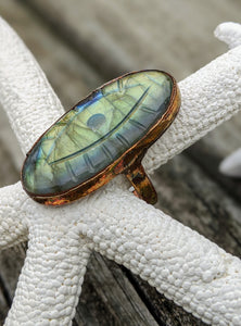 Size 11 Carved Evil Eye Labradorite Copper Electroformed Ring - Minxes' Trinkets