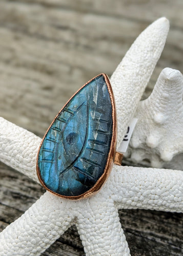 Size 9.5 Carved Labradorite Evil Eye Copper Electroformed Ring - Minxes' Trinkets
