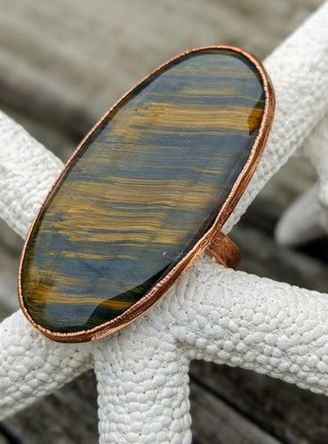 Size 11.25 Tiger's Eye Copper Electroformed Ring - Minxes' Trinkets