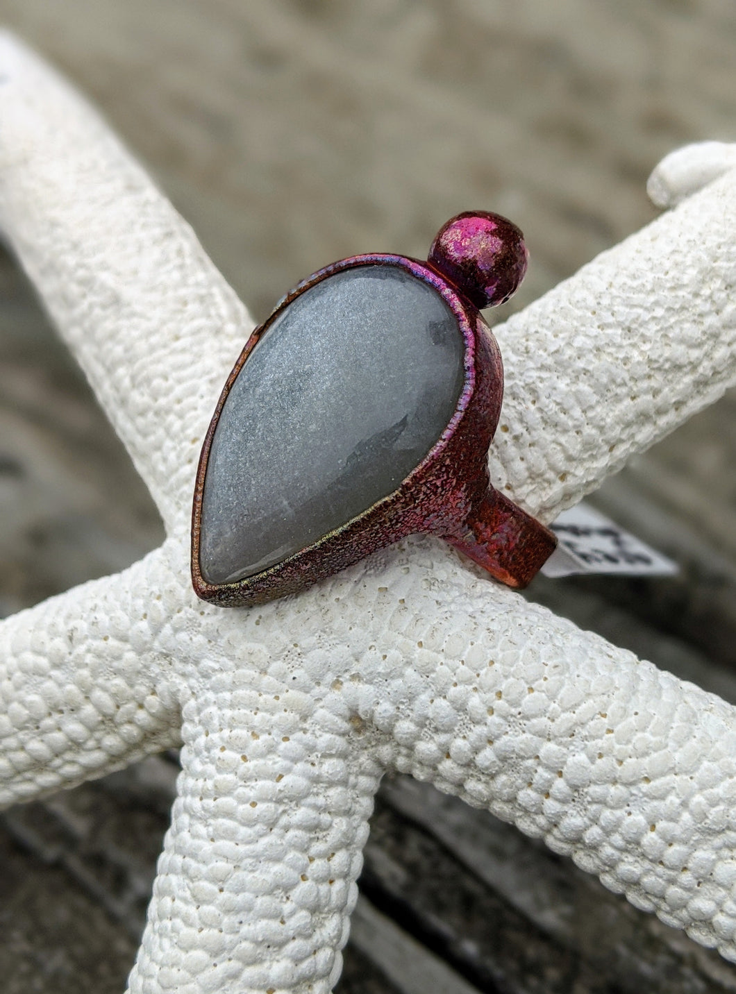 Size 6 Grey Moonstone Copper Electroformed Ring - Minxes' Trinkets