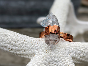 Size 8.5 Herkimer Diamond Copper Electroformed Ring - Minxes' Trinkets