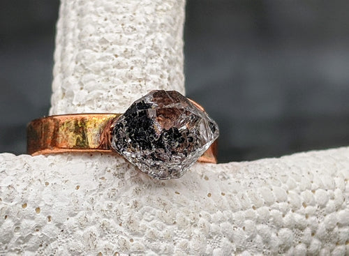 Size 6 Herkimer Diamond Copper Electroformed Ring II - Minxes' Trinkets