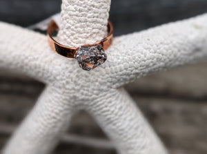 Size 6 Herkimer Diamond Copper Electroformed Ring - Minxes' Trinkets