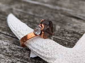 Size 8.5 Amethyst and Herkimer Diamond Copper Electroformed Ring - Minxes' Trinkets
