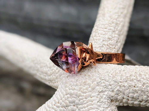 Size 6.5 Amethyst Point Copper Electroformed Ring - Minxes' Trinkets