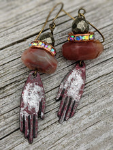 Load image into Gallery viewer, Carnelian and Pyrite Palmistry Earrings - Minxes' Trinkets