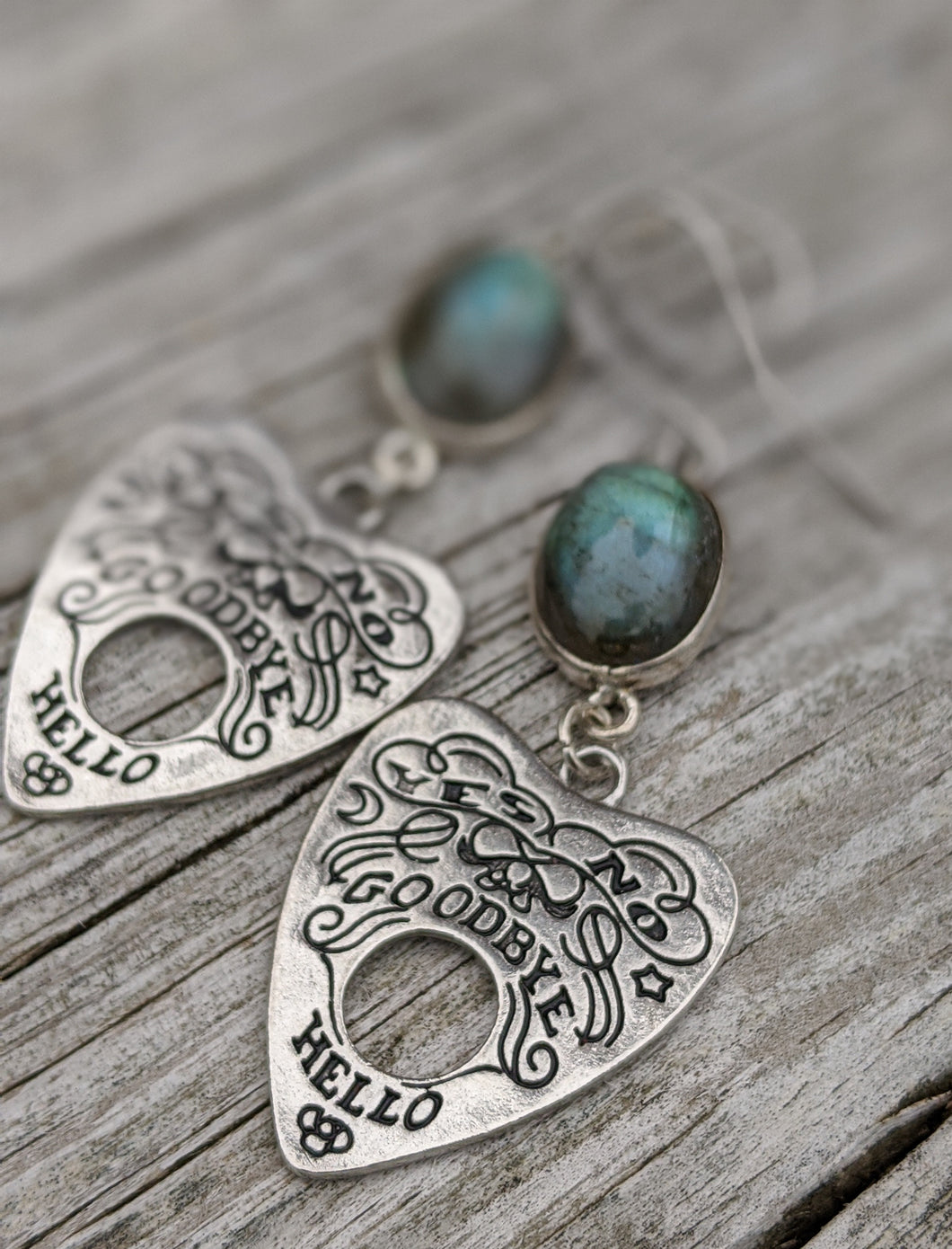 Ouija Earrings with Labradorite I - Minxes' Trinkets