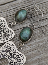 Load image into Gallery viewer, Ouija Earrings with Labradorite I - Minxes' Trinkets