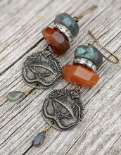 Load image into Gallery viewer, All Seeing Eye Earrings - Labradorite and Carnelian - Minxes' Trinkets