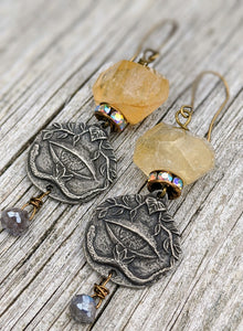 All Seeing Eye Earrings - Citrine and Titanium-Labradorite - Minxes' Trinkets