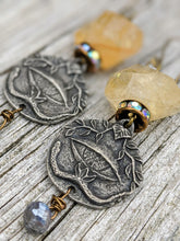 Load image into Gallery viewer, All Seeing Eye Earrings - Citrine and Titanium-Labradorite - Minxes' Trinkets