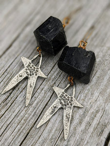 Pewter Star and Black Tourmaline Earrings - Minxes' Trinkets