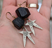 Load image into Gallery viewer, Pewter Star and Black Tourmaline Earrings - Minxes' Trinkets