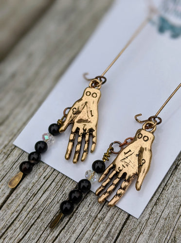 Palmistry Earrings - Black - Minxes' Trinkets