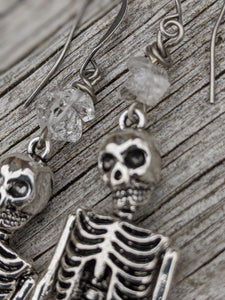 Skeleton Mermaid Earrings with Herkimer Diamonds - Minxes' Trinkets