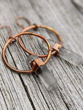 Load image into Gallery viewer, Herkimer Diamond Copper Electroformed Earrings II - Minxes' Trinkets