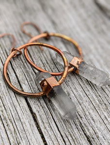 Herkimer Diamond Copper Electroformed Earrings II - Minxes' Trinkets