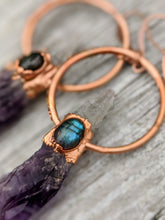 Load image into Gallery viewer, Amethyst and Labradorite Electroformed Hoop Earrings - Minxes' Trinkets