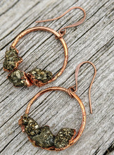Load image into Gallery viewer, Pyrite Copper Electroformed Hoop Earrings - Minxes' Trinkets