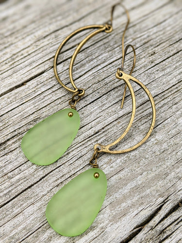 Open Moon Earrings with Green Seaglass Beads - Minxes' Trinkets