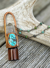 Load image into Gallery viewer, Hubei Turquoise, Chrysoprase, and Golden Rutilated Quartz Copper Electroformed Rollerball Necklace - Minxes' Trinkets