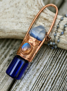 Labradorite and Dumortierite Quartz Copper Electroformed Rollerball Necklace II - Minxes' Trinkets
