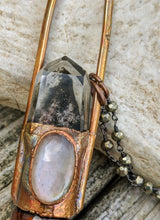 Load image into Gallery viewer, Grey Moonstone and Garden Quartz Copper Electroformed Rollerball Necklace - Minxes' Trinkets