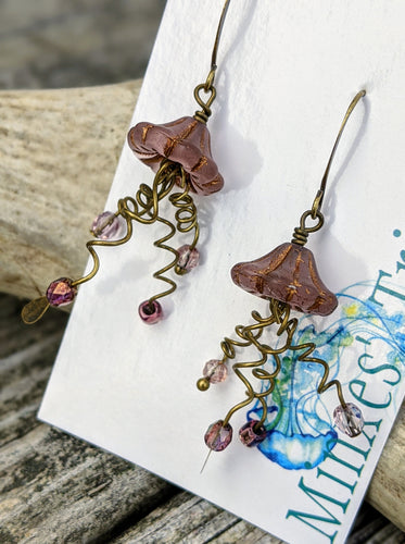Jellyfish Earrings - Mauve - Minxes' Trinkets