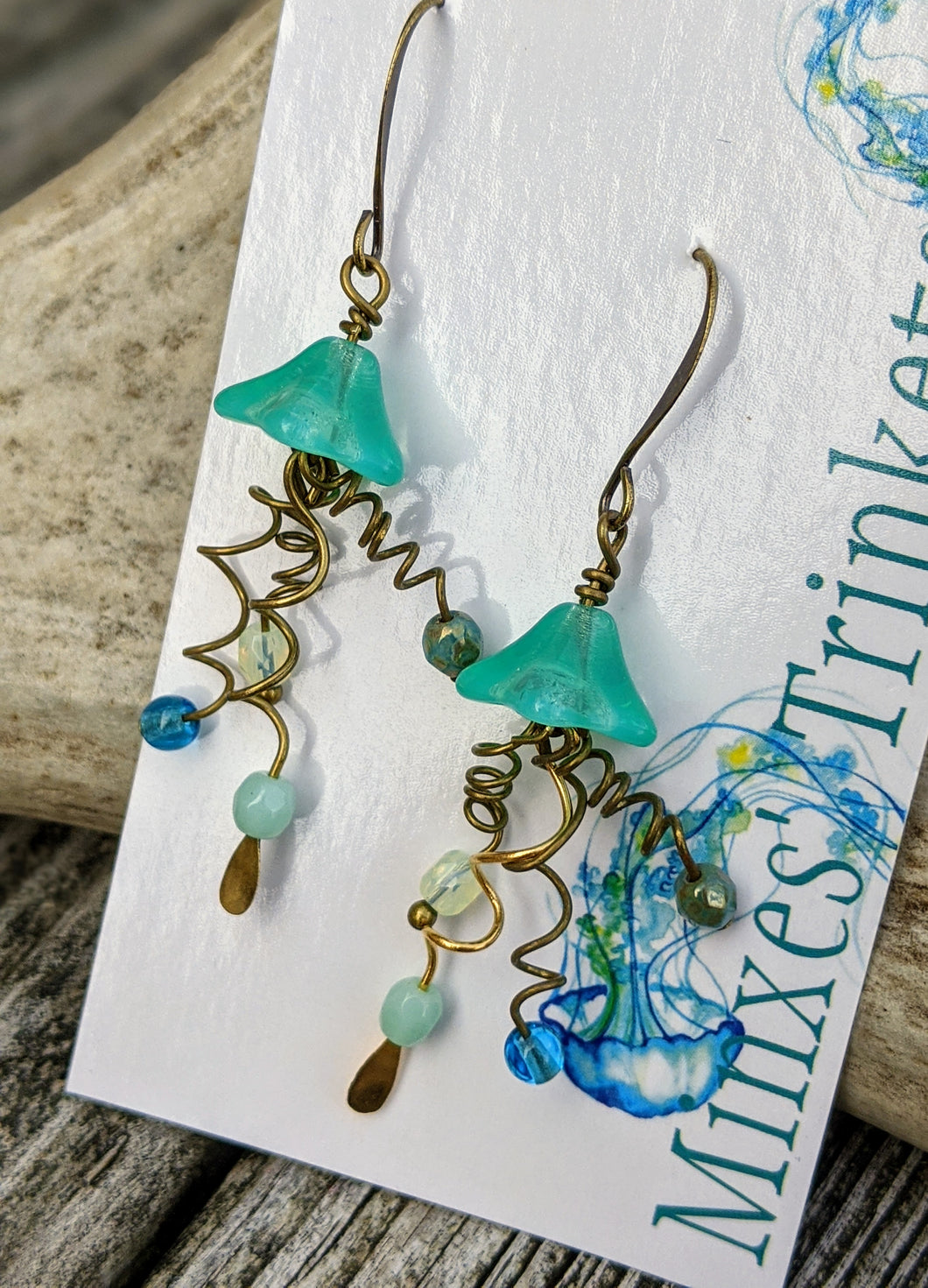 Jellyfish Earrings - Aqua - Minxes' Trinkets