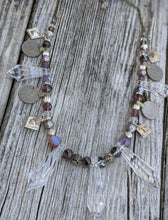 Load image into Gallery viewer, Kuchi Coin and Iridescent Chandelier Crystal Bellydance Necklace - Lavender - Minxes' Trinkets
