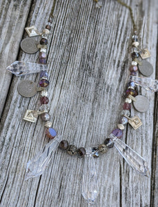 Kuchi Coin and Iridescent Chandelier Crystal Bellydance Necklace - Lavender - Minxes' Trinkets