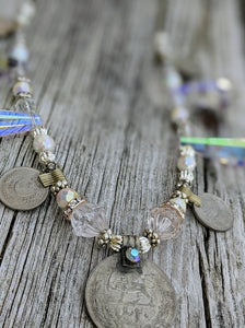 Kuchi Coin and Iridescent Chandelier Crystal Bellydance Necklace - Minxes' Trinkets