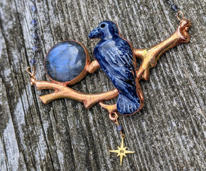 Midnight Blue Raven and Labradorite Moon Copper Electroformed Necklace - Minxes' Trinkets