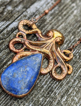 Load image into Gallery viewer, Lapis Lazuli Octopus Copper Electroformed Necklace - Minxes' Trinkets