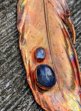 Load image into Gallery viewer, Real Copper Electroformed Feather - Kyanite and Moonstone - Minxes' Trinkets