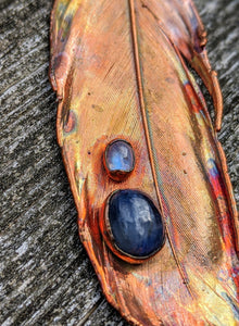 Real Copper Electroformed Feather - Kyanite and Moonstone - Minxes' Trinkets