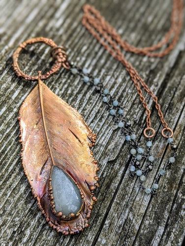 Real Copper Electroformed Feather - Grey Moonstone - Minxes' Trinkets